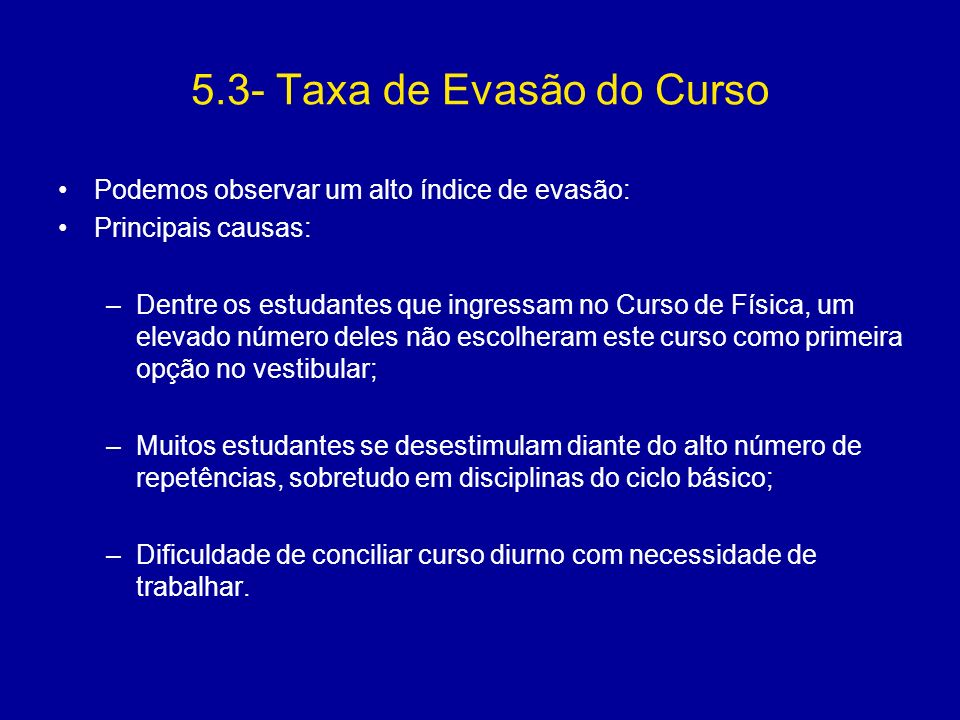 5.3- Taxa de Evasão do Curso