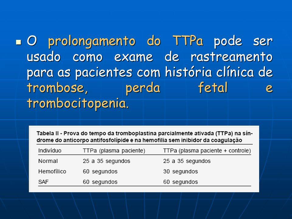 O prolongamento do TTPa pode ser usado como exame de rastreamento para as pacientes com história clínica de trombose, perda fetal e trombocitopenia.