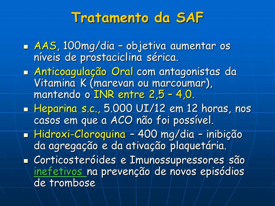 Tratamento da SAF AAS, 100mg/dia – objetiva aumentar os níveis de prostaciclina sérica.
