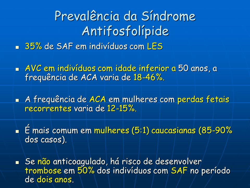 Prevalência da Síndrome Antifosfolípide