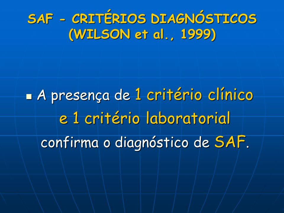 SAF - CRITÉRIOS DIAGNÓSTICOS (WILSON et al., 1999)