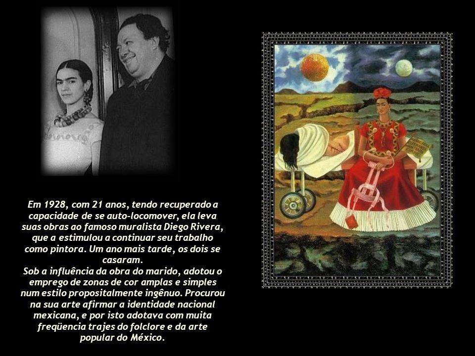 Em 1928, com 21 anos, tendo recuperado a capacidade de se auto-locomover, ela leva suas obras ao famoso muralista Diego Rivera, que a estimulou a continuar seu trabalho como pintora. Um ano mais tarde, os dois se casaram.