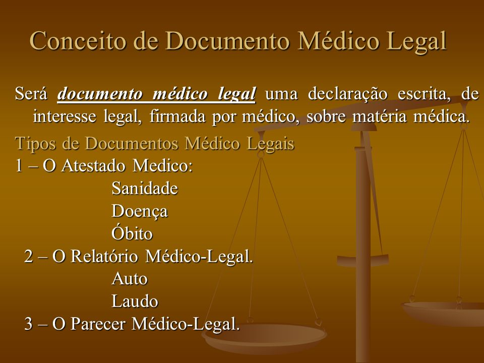 Conceito de Documento Médico Legal