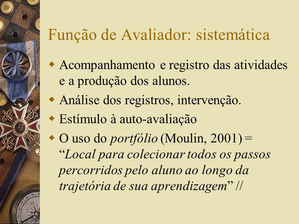 Função de Avaliador: sistemática