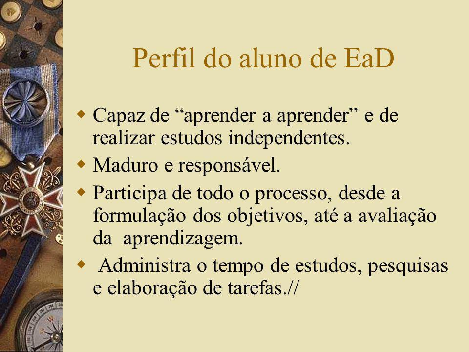 Perfil do aluno de EaD Capaz de aprender a aprender e de realizar estudos independentes. Maduro e responsável.