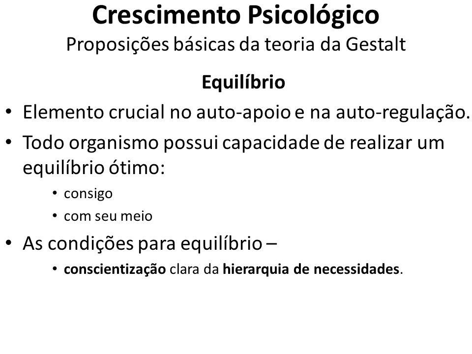 Crescimento Psicológico Proposições básicas da teoria da Gestalt