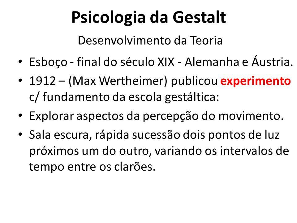 Psicologia da Gestalt Desenvolvimento da Teoria
