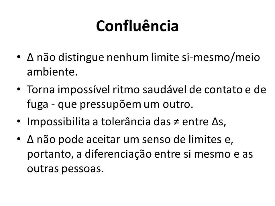 Confluência Δ não distingue nenhum limite si-mesmo/meio ambiente.