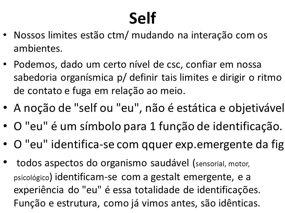 Self A noção de self ou eu , não é estática e objetivável.