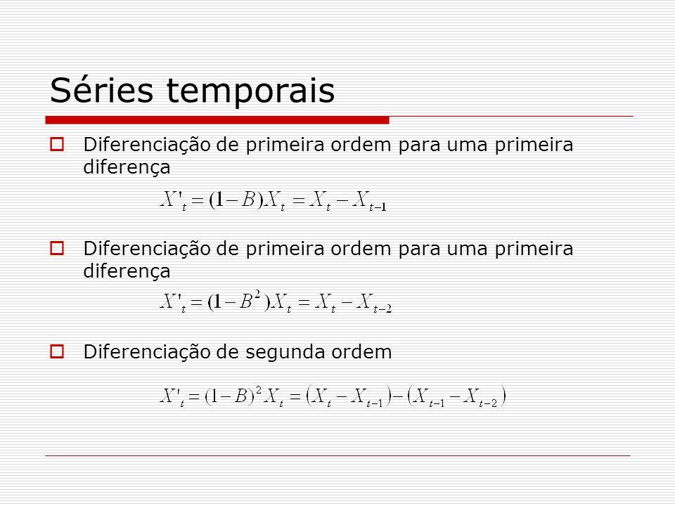 Séries temporais Diferenciação de primeira ordem para uma primeira diferença.