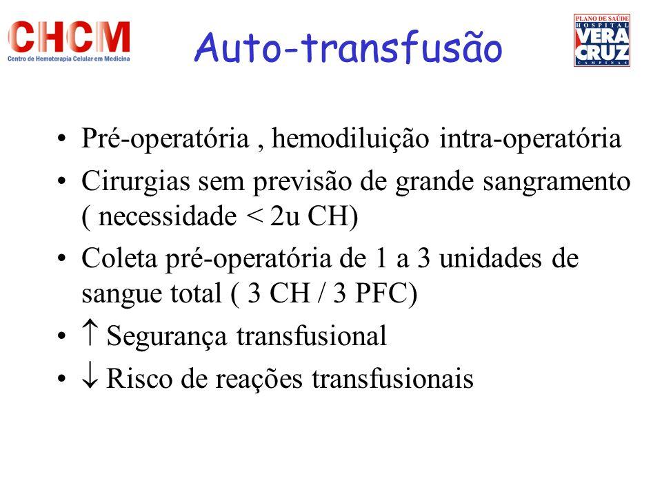 Auto-transfusão Pré-operatória , hemodiluição intra-operatória