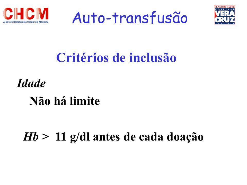 Auto-transfusão Critérios de inclusão Idade Não há limite