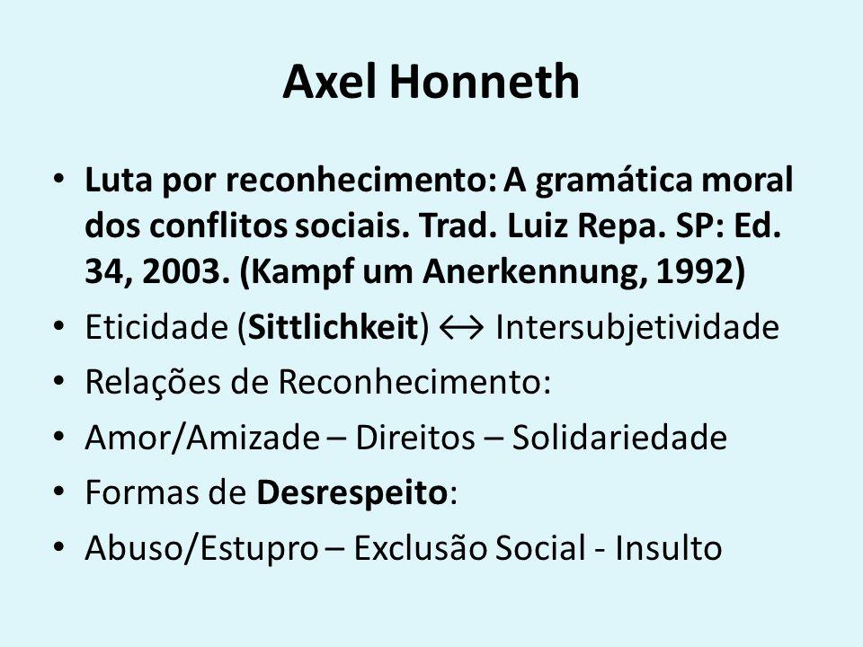 Axel Honneth Luta por reconhecimento: A gramática moral dos conflitos sociais. Trad. Luiz Repa. SP: Ed. 34, 2003. (Kampf um Anerkennung, 1992)