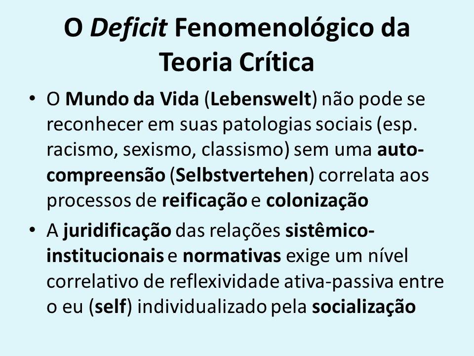 O Deficit Fenomenológico da Teoria Crítica