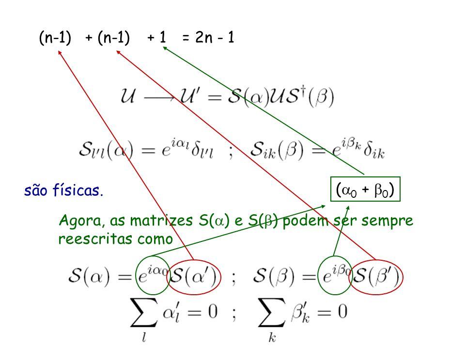 (n-1) para neutrinos de Dirac, só as fases da matriz de mistura que não podem ser eliminadas por transformações.