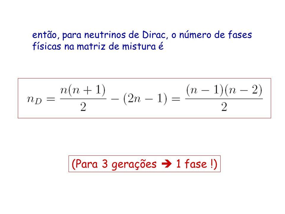 então, para neutrinos de Dirac, o número de fases físicas na matriz de mistura é