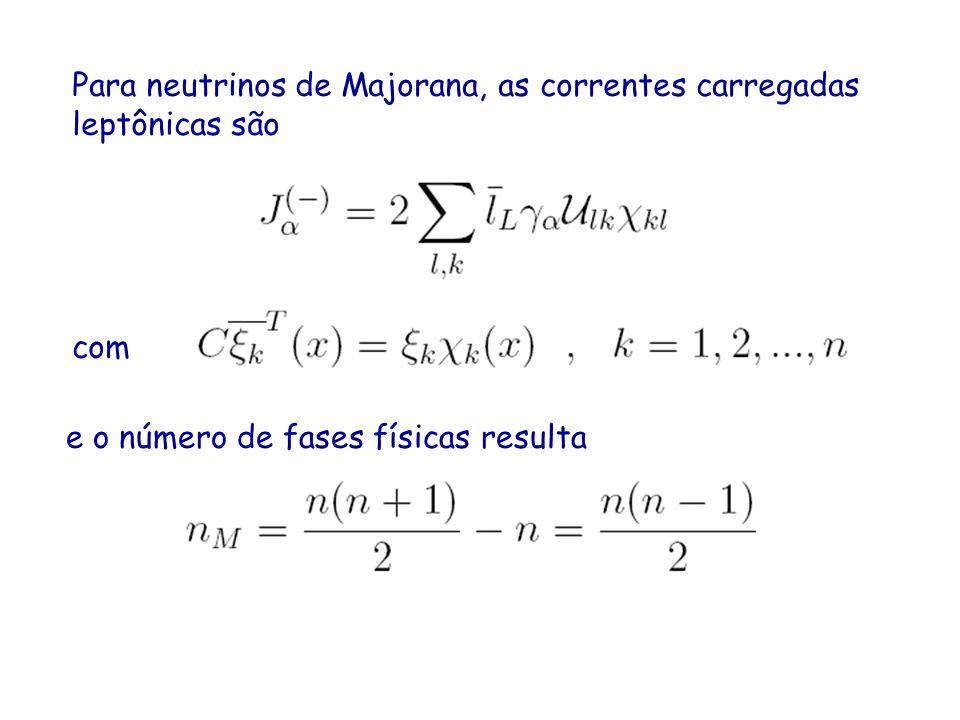 Para neutrinos de Majorana, as correntes carregadas leptônicas são