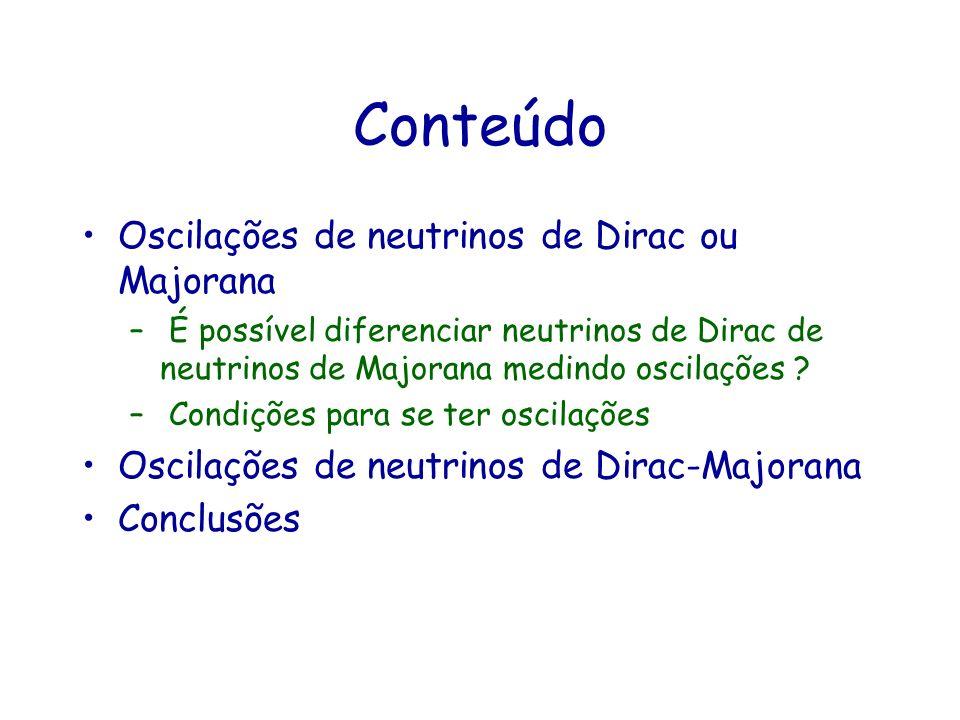 Conteúdo Oscilações de neutrinos de Dirac ou Majorana
