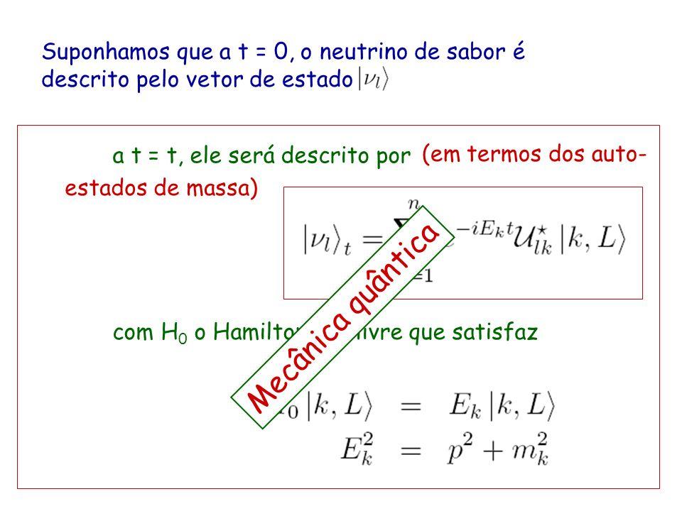 Suponhamos que a t = 0, o neutrino de sabor é descrito pelo vetor de estado