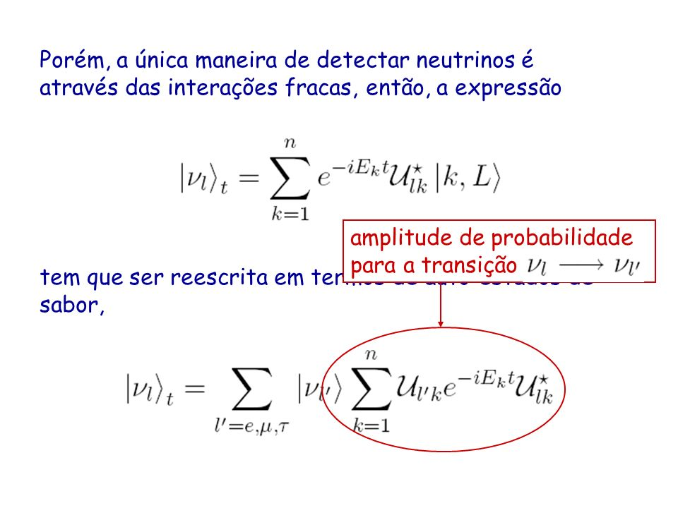 Porém, a única maneira de detectar neutrinos é através das interações fracas, então, a expressão