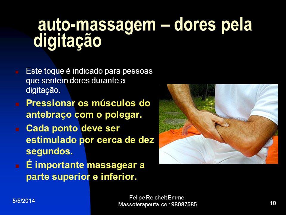 auto-massagem – dores pela digitação