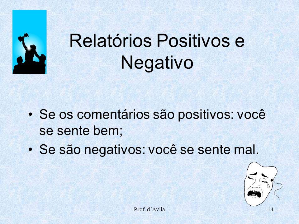 Relatórios Positivos e Negativo