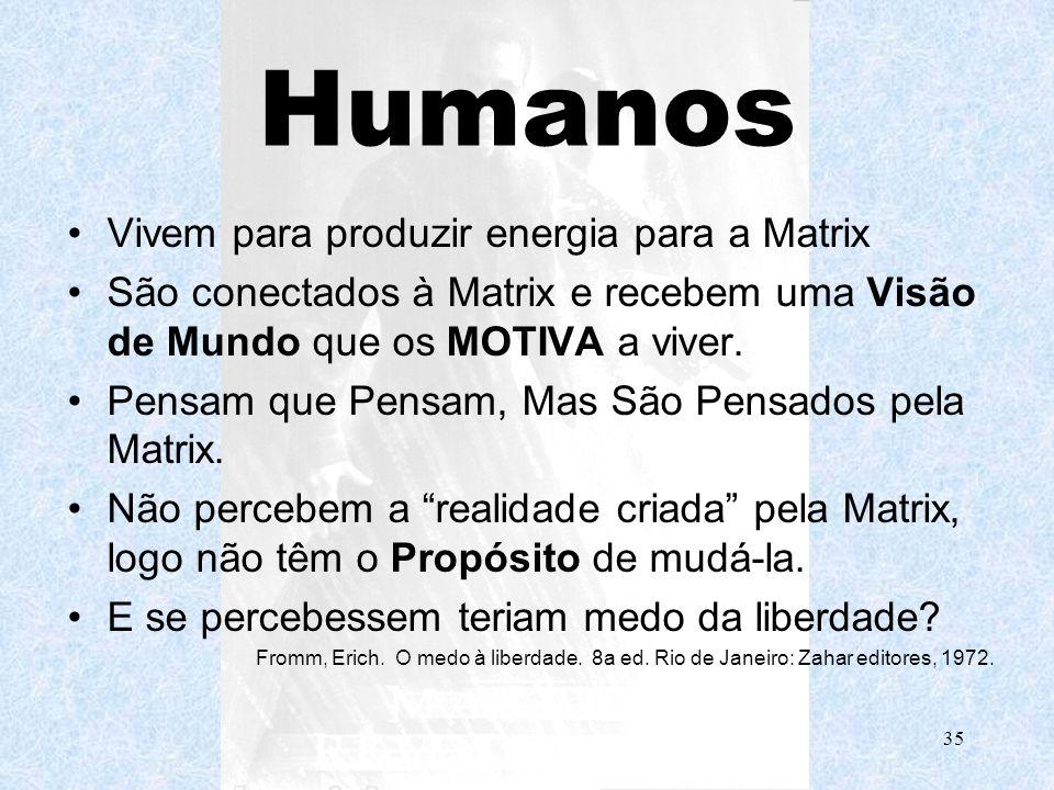 Humanos Vivem para produzir energia para a Matrix
