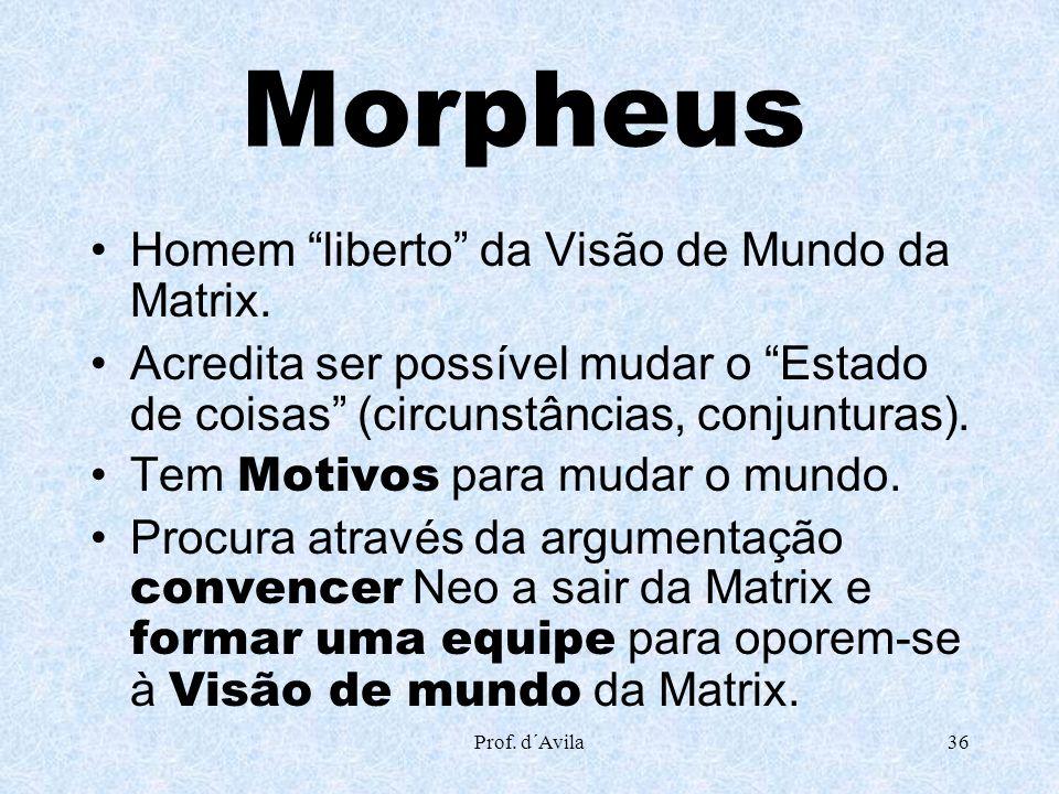 Morpheus Homem liberto da Visão de Mundo da Matrix.