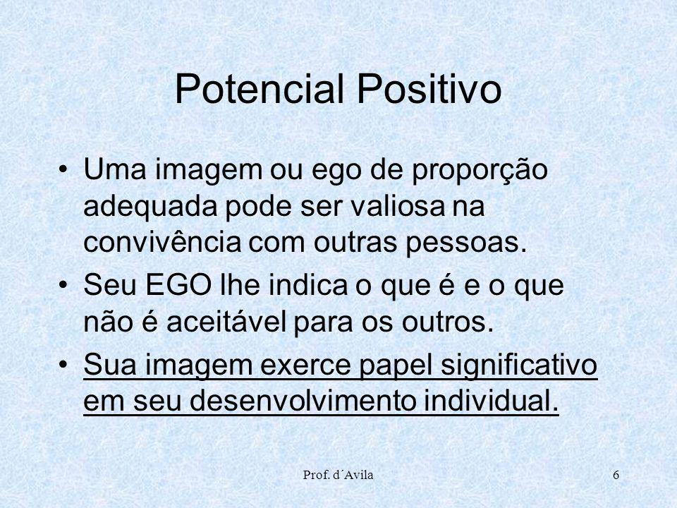 Potencial Positivo Uma imagem ou ego de proporção adequada pode ser valiosa na convivência com outras pessoas.