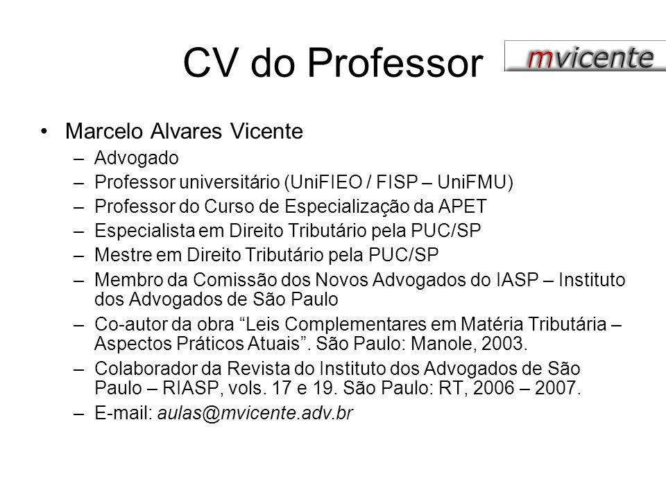 CV do Professor Marcelo Alvares Vicente Advogado