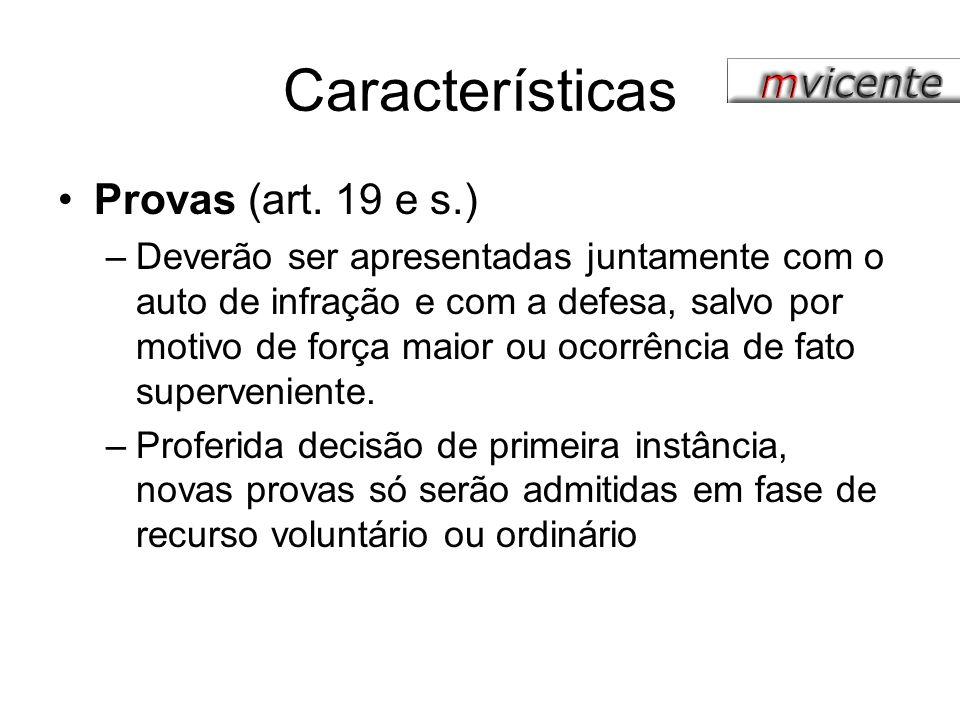 Características Provas (art. 19 e s.)