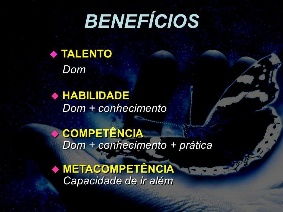 BENEFÍCIOS TALENTO Dom HABILIDADE Dom + conhecimento COMPETÊNCIA