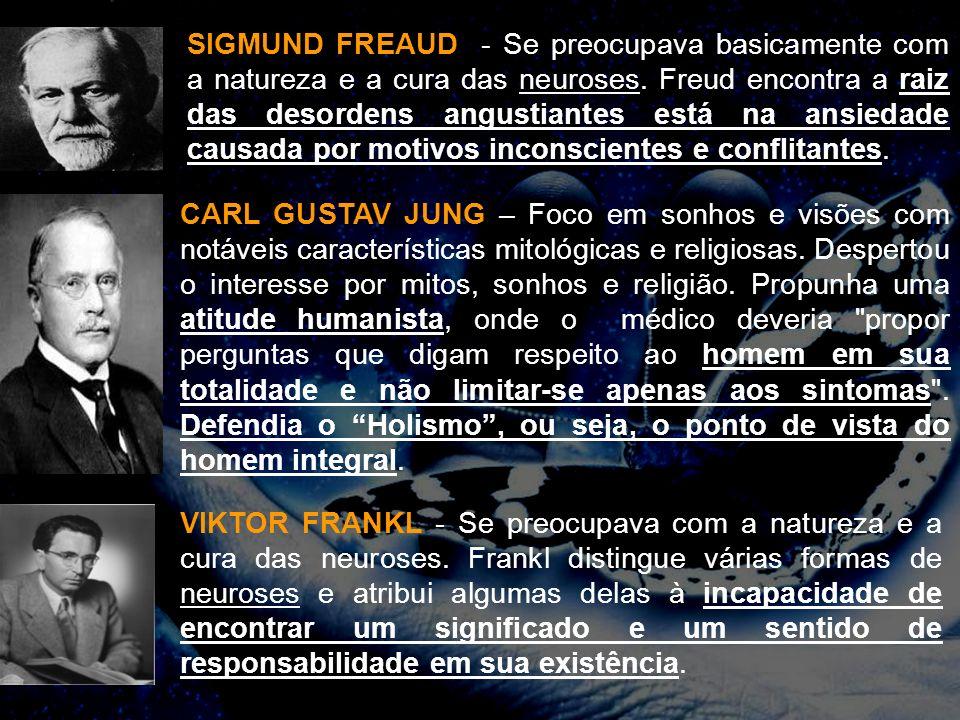 SIGMUND FREAUD - Se preocupava basicamente com a natureza e a cura das neuroses. Freud encontra a raiz das desordens angustiantes está na ansiedade causada por motivos inconscientes e conflitantes.