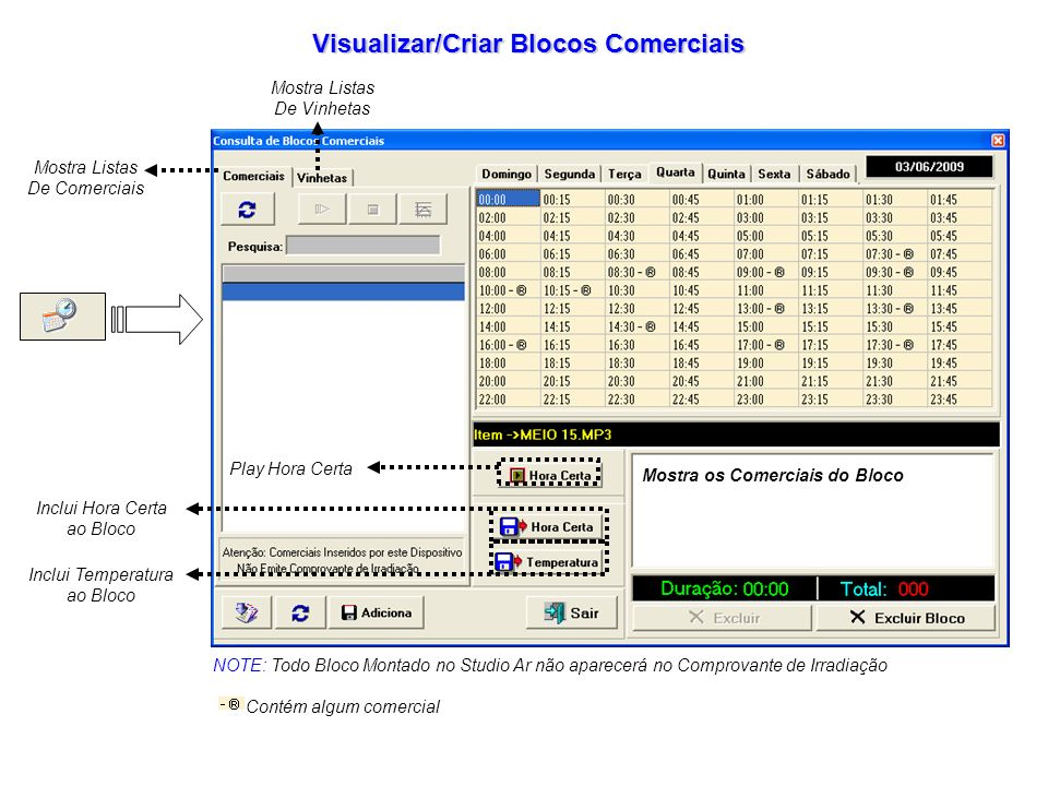 Visualizar/Criar Blocos Comerciais