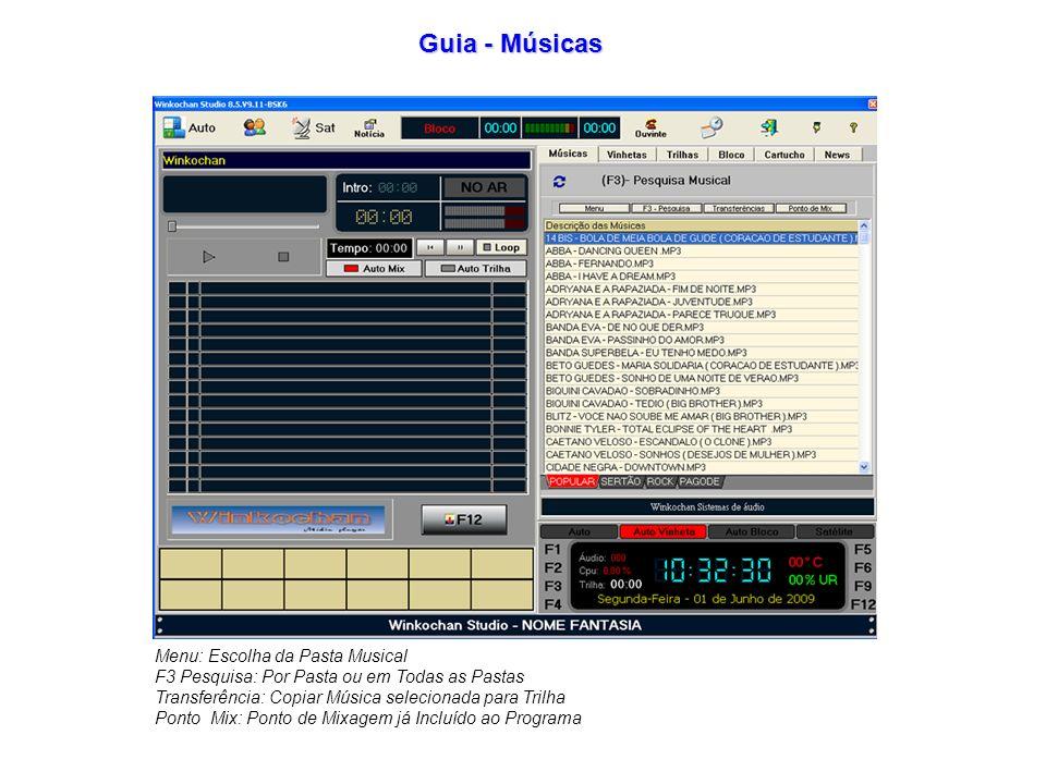 Guia - Músicas Menu: Escolha da Pasta Musical