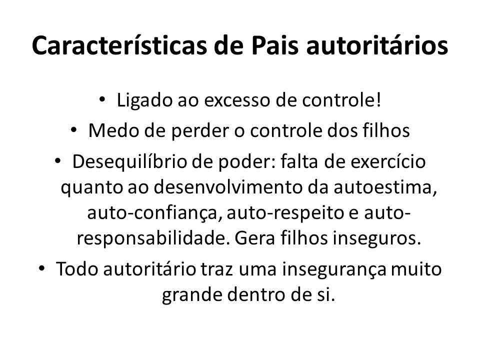 Características de Pais autoritários