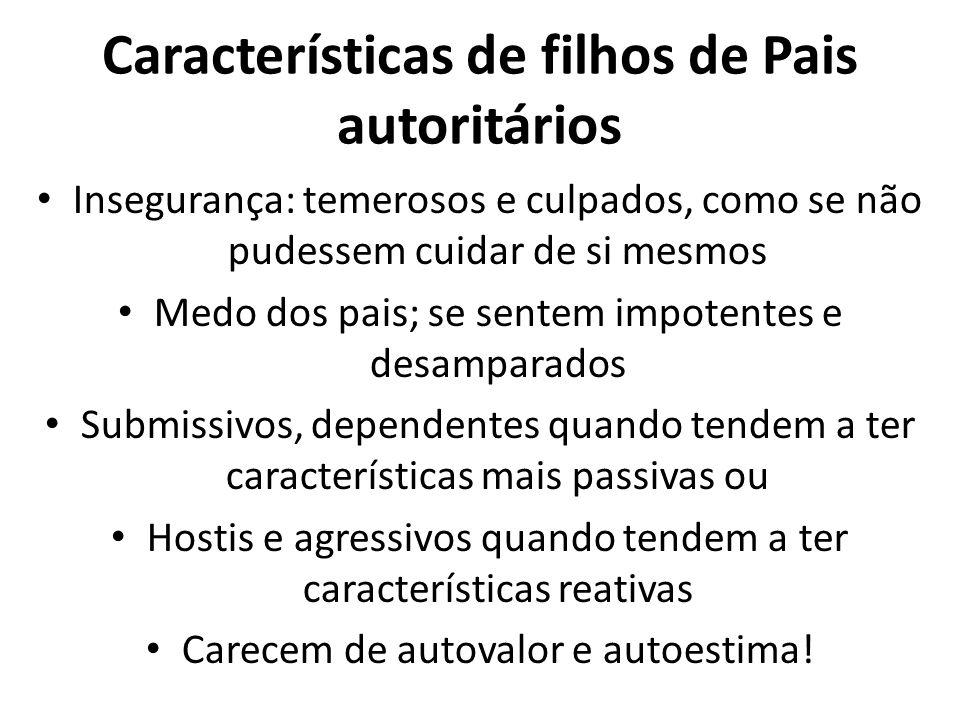 Características de filhos de Pais autoritários