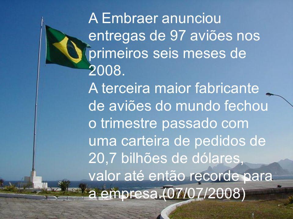 A Embraer anunciou entregas de 97 aviões nos primeiros seis meses de 2008.