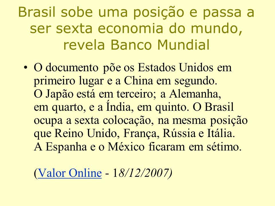 Brasil sobe uma posição e passa a ser sexta economia do mundo, revela Banco Mundial