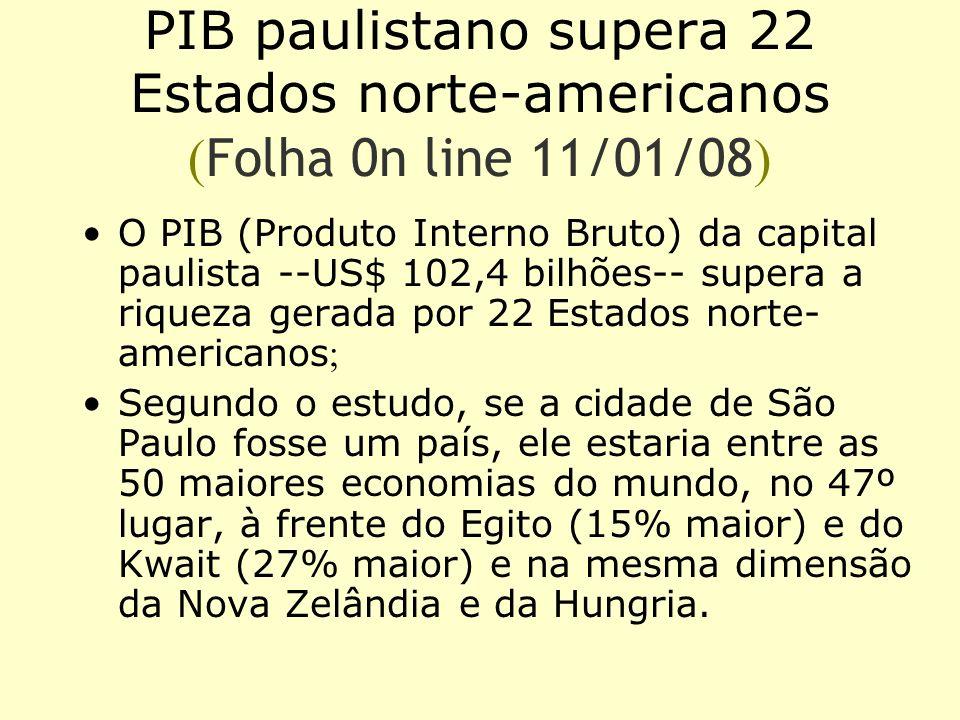 PIB paulistano supera 22 Estados norte-americanos (Folha 0n line 11/01/08)