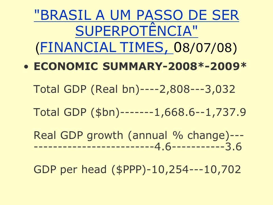 BRASIL A UM PASSO DE SER SUPERPOTÊNCIA (FINANCIAL TIMES, 08/07/08)