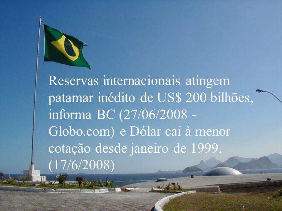 Reservas internacionais atingem patamar inédito de US$ 200 bilhões, informa BC (27/06/2008 - Globo.com) e Dólar cai à menor cotação desde janeiro de 1999.