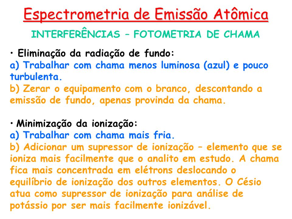 INTERFERÊNCIAS – FOTOMETRIA DE CHAMA