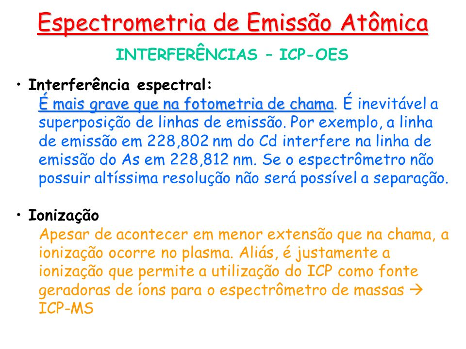 INTERFERÊNCIAS – ICP-OES