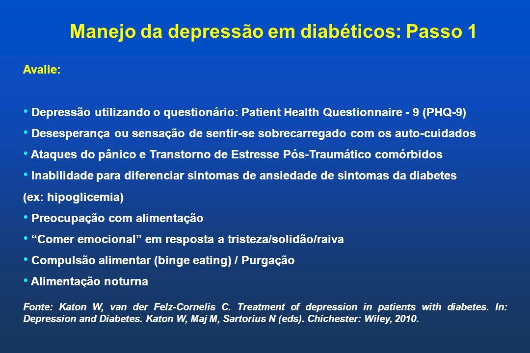 Manejo da depressão em diabéticos: Passo 1