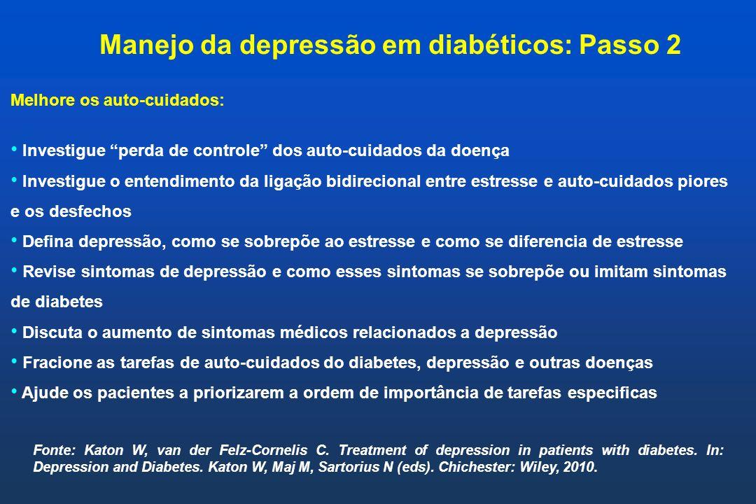 Manejo da depressão em diabéticos: Passo 2