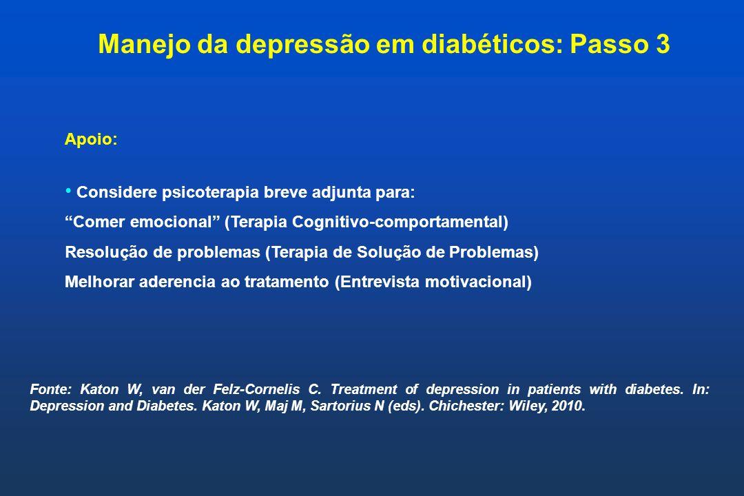 Manejo da depressão em diabéticos: Passo 3