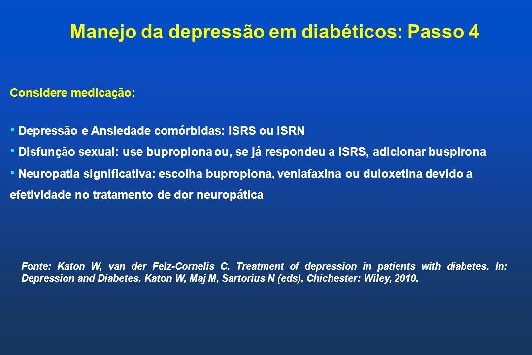 Manejo da depressão em diabéticos: Passo 4
