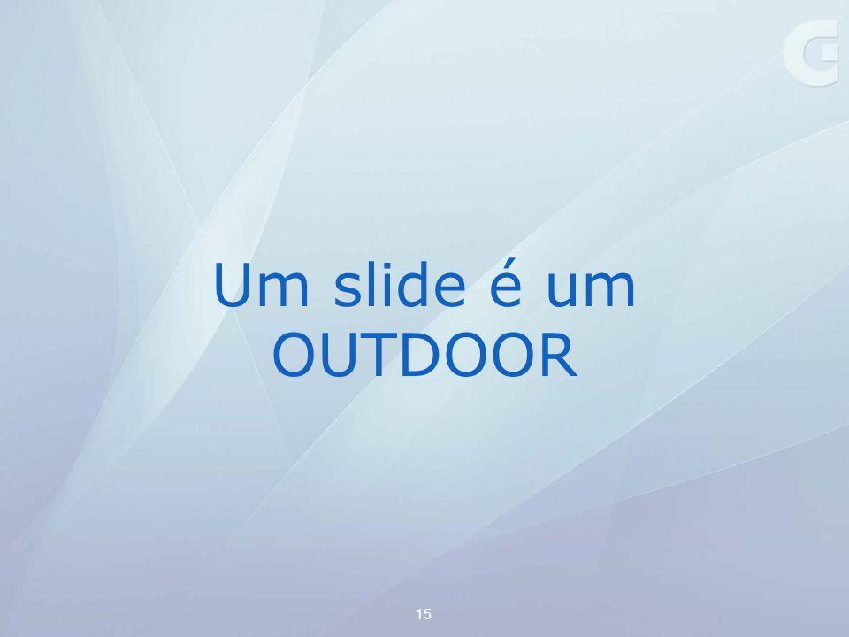 Um slide é um OUTDOOR Você precisa ler tudo rapidamente enquanto passa de carro por ele 15