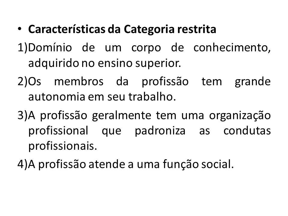 Características da Categoria restrita
